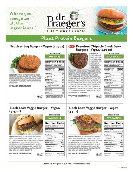 Dr. Praeger's Foodservice Plant Protein Veggie Burgers Sell Sheet