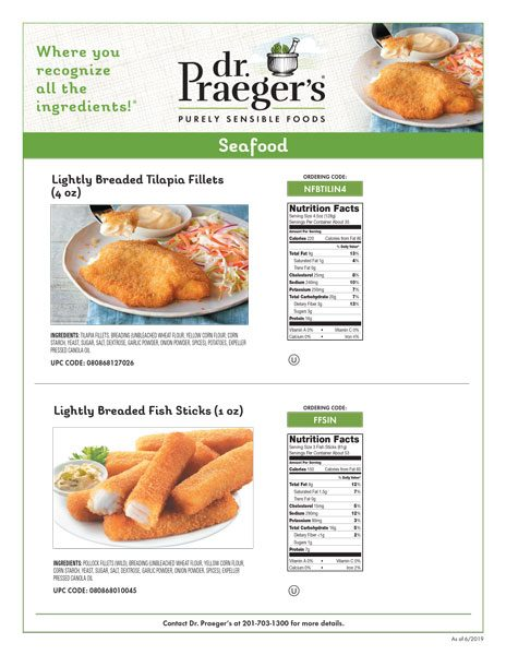 Dr. Praeger's Foodservice Seafood Sell Sheet