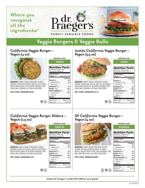 Dr. Praeger's Foodservice Veggie Burgers & Veggie Balls Sell Sheet