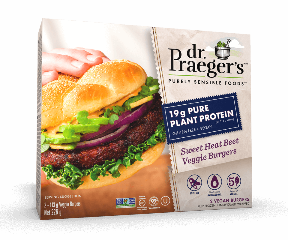 Dr. Praeger's Canada Pure Plant Protein Sweet Heat Beet Veggie Burgers Package Image