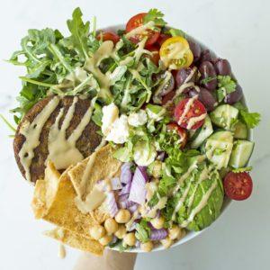 Dr. Praeger's Mediterranean-Style Veggie Burger Bowl Recipe Image