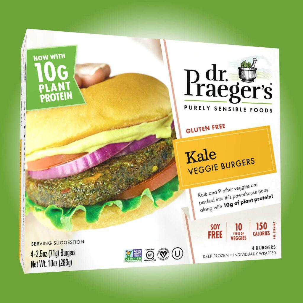 box of dr praeger's kale veggie burgers