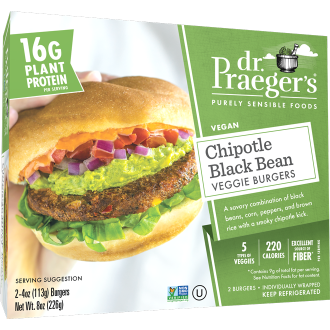 Dr. Praeger's Chipotle Black Bean Veggie Burgers Package Image