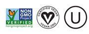 NGMO Vegan Kosher Certification Logos