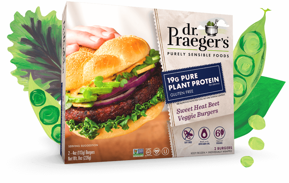 Dr. Praeger's Sweet Heat Beet Veggie Burgers PURE PLANT PROTEIN