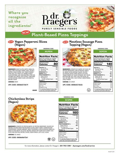 Dr. Praeger's Foodservice Pizza Toppings Sell Sheet Image