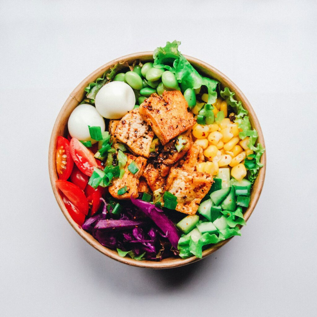 bowl of nutritious plant-based foods