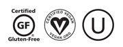 GF Vegan OU certification logos