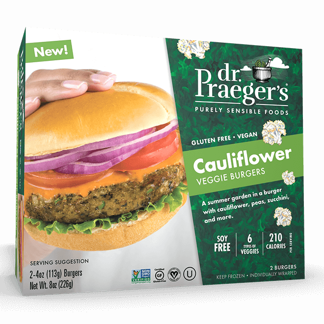Dr. Praeger's Cauliflower Veggie Burger Box Image